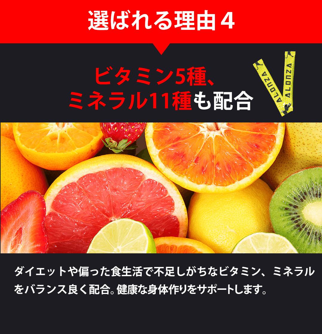 選ばれる理由4 ビタミン5種、ミネラル11種も配合 ダイエットや偏った食生活で不足しがちなビタミン、ミネラルをバランスよく配合。健康な身体作りをサポートします。