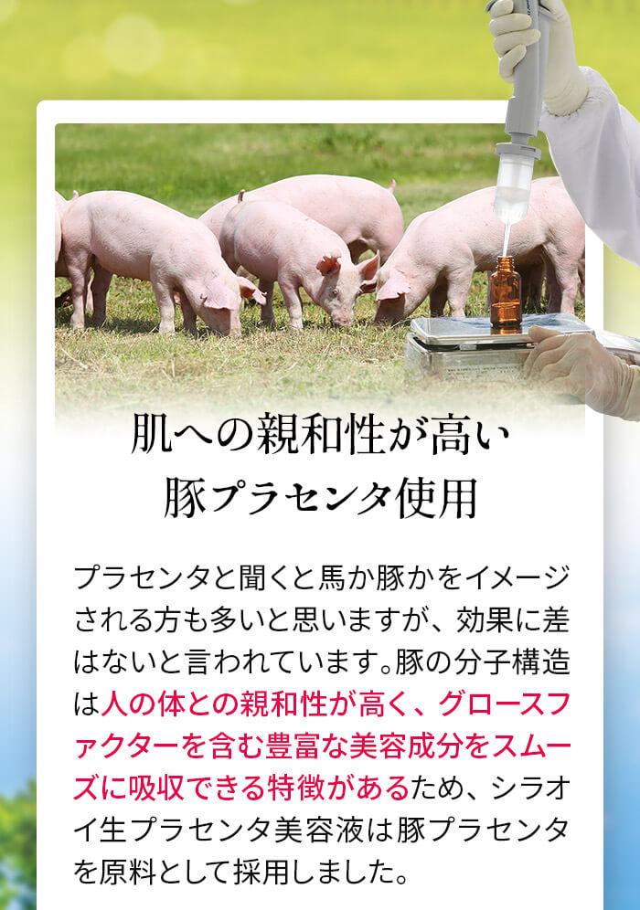 肌への親和性が高い豚プラセンタ使用