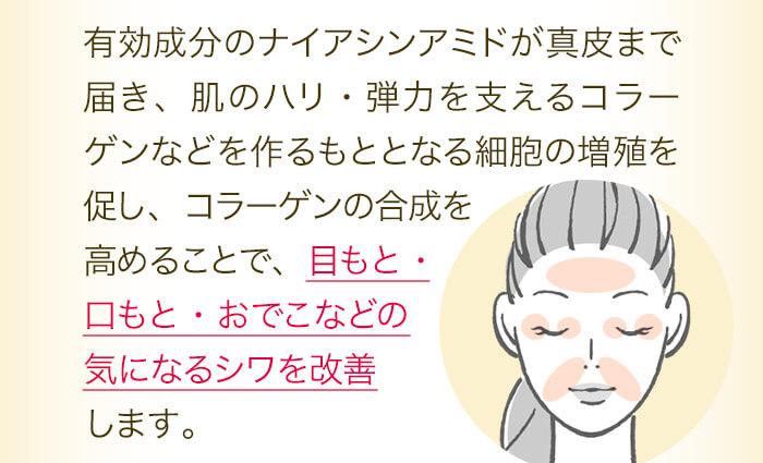 ラーゲンの合成を高めることで、目もと・口もと・おでこなどの気になるシワを改善