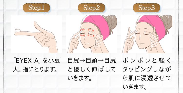 ステップ1:「EYEXIA」を小豆大にとります。ステップ2:目尻、目頭、目尻と優しく伸ばしていきます。ステップ3:ポンポンと軽くタッピングしながら肌に浸透させていきます。