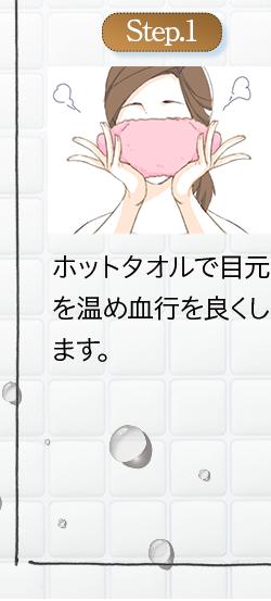 ステップ①:ホットタオルで目元を温め血行を良くする。