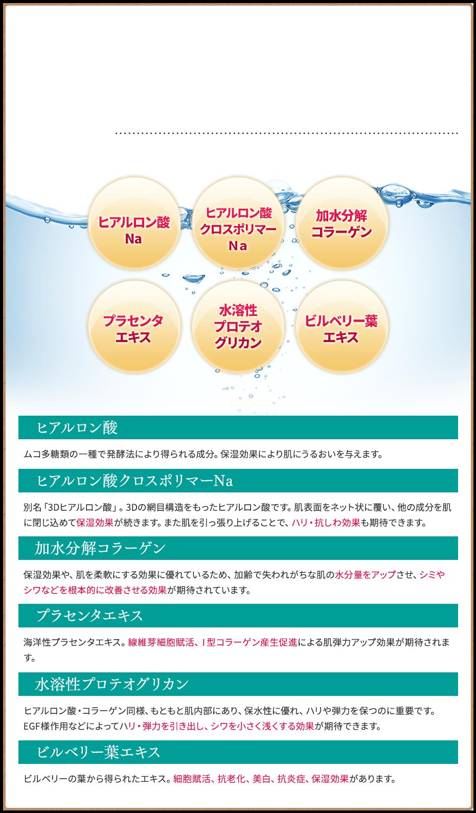 ヒアルロン酸・ヒアルロン酸クロスポリマーNa・加水分解コラーゲン・プラセンタエキス・水溶性プロテオグリカン・ビルベリー葉エキス配合