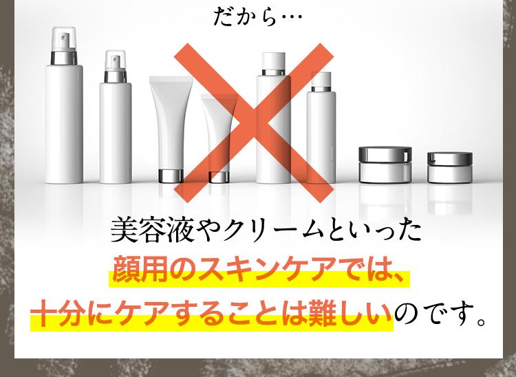 だから、美容液やクリームといった顔用のスキンケアでは十分にケアすることは難しいのです