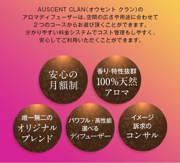 AUSCENT CLANのアロマディフューザーは空間の広さや用途に合わせて2つのコースからお選びいただくことができます