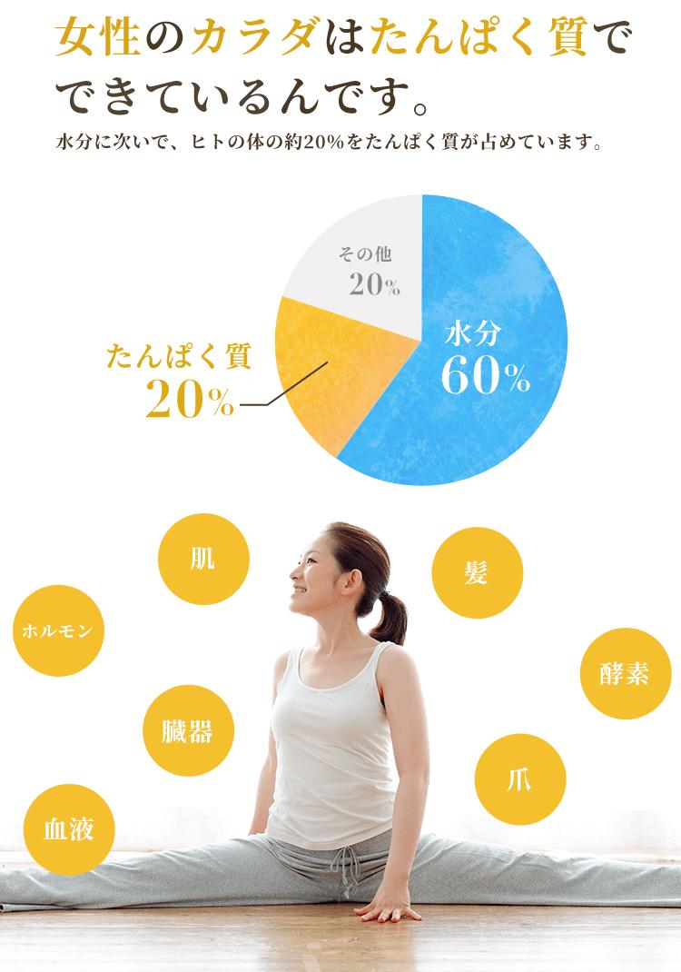 女性のカラダはたんぱく質でできているんです。水分に次いで、ヒトの体の約20%をたんぱく質が占めています。肌、髪、ホルモン、酵素、臓器、血液、爪、