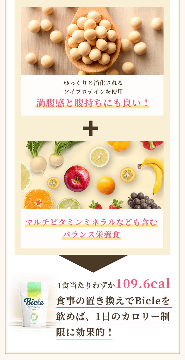 ゆっくりと消化されるソイプロテインを使用満腹感と腹持ちにも良い!マルチビタミンミネラルなども含むバランス栄養食1食当たりわずか109.6cal食事の置き換えでBicleを飲めば、1日のカロリー制限に効果的!