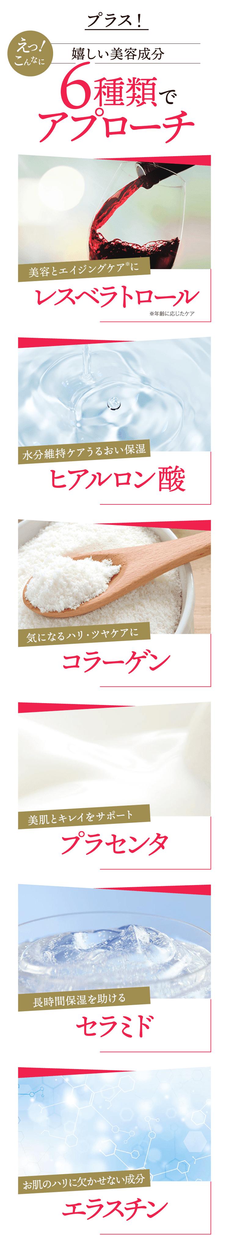 嬉しい美容成分 レスペラトロール ヒアルロン酸 コラーゲン プラセンタ セラミド エラスチン