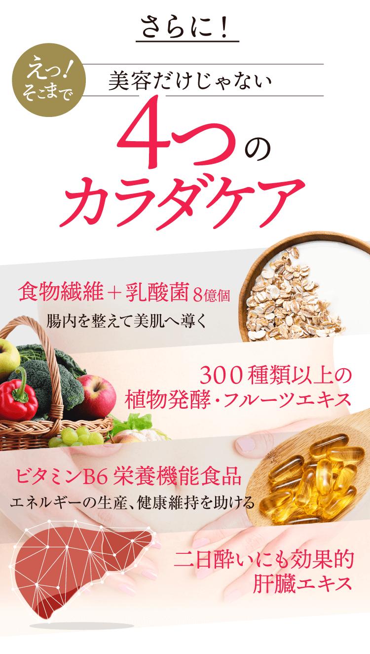 さらに4つのカラダケア 食物繊維+乳酸菌8億個 300種類以上の植物発酵・フルーツエキス ビタミンB6栄養機能食品 二日酔いにも効果的肝臓エキス