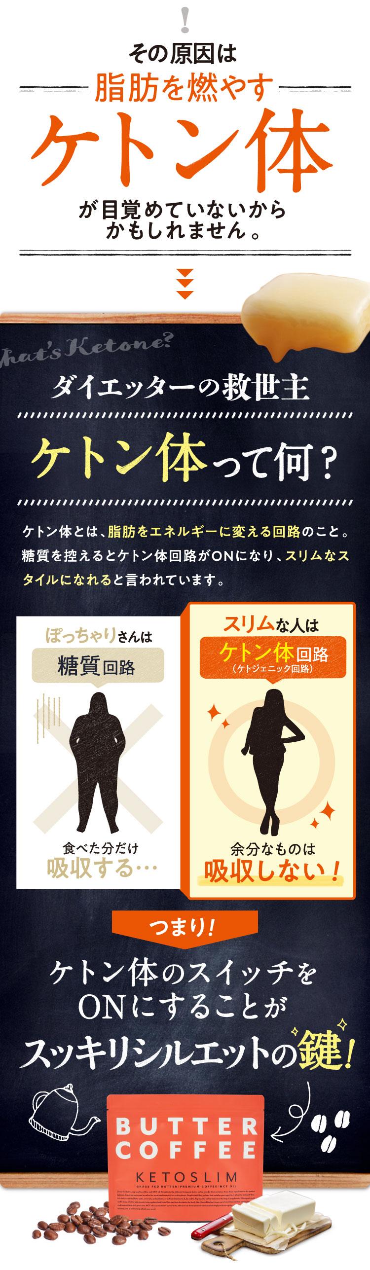その原因は脂肪を燃やすケトン体が目覚めていないからかもしれません。→→→ダイエッターの救世主 「ケトン体って何?」ケトン体とは、脂肪をエネルギーに変える回路のこと。糖質を控えるとケトン体回路がONになり、スリムなスタイルになれると言われています。ぽっちゃりさんは糖質回路。食べた分だけ吸収する。スリムな人はケトン体回路(ケトジェニック回路)。余分なものは吸収しない!つまり!ケトン体のスイッチをONにすることがスッキリシルエットの鍵!