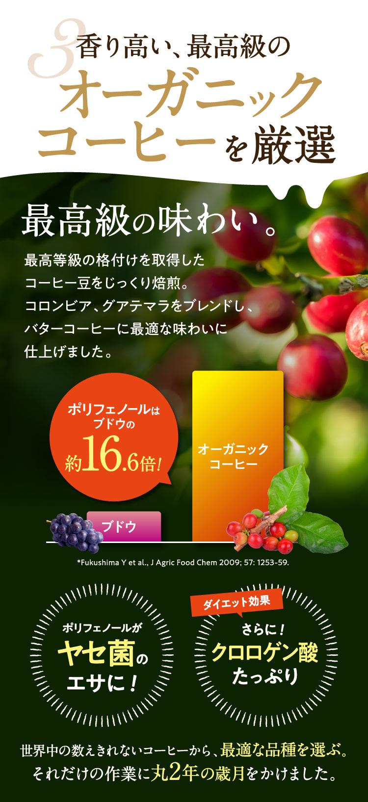 3.香り高い、最高級のオーガニックコーヒーを厳選/最高級の味わい。最高等級の格付けを獲得したコーヒー豆をじっくり焙煎。コロンビア、グアテマラをブレンドし、バターコーヒーに最適な味わいに仕上げました。ポリフェノールはブドウの約16.6倍!*Fukushima Y et al., J Agric Food Chem 2009; 57: 1253-59/ポリフェノールがヤセ菌のエサに!さらにダイエット効果クロロゲン酸たっぷり!世界中の数えきれないコーヒーから最適な品種を選ぶ、それだけの作業に丸2年の歳月をかけました。