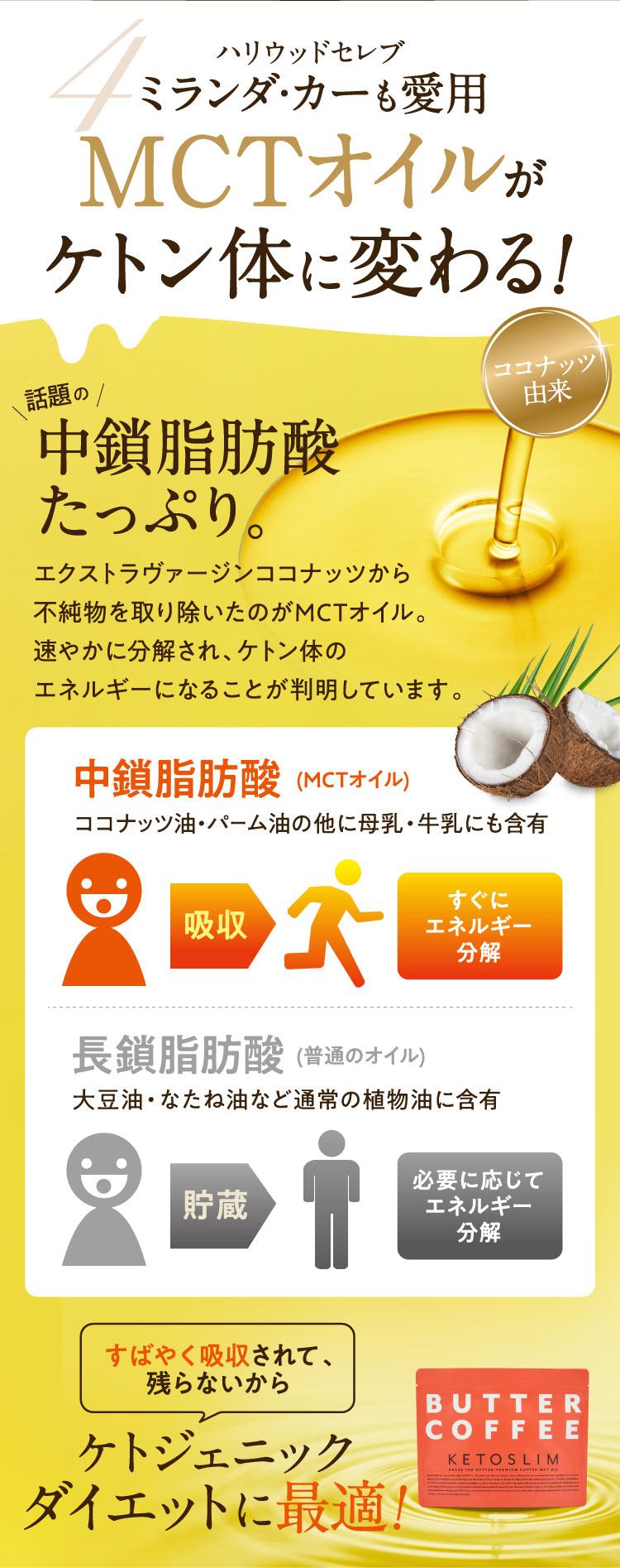 4.ハリウッドセレブ ミランダ・カーも愛用。MCTオイルがケトン体に変わる!/話題の中鎖脂肪酸たっぷり。エクストラヴァージンココナッツから不純物を取り除いたのがMCTオイル。速やかに分解され、ケトン体のエネルギーになることが判明しています。■中鎖脂肪酸(MCTオイル)ココナッツ油・パーム油の他に母乳・牛乳にも含有。吸収してすぐにエネルギーに分解します。■長鎖脂肪酸(普通のオイル)は大豆油・なたね油など通常の植物油に含有。体に貯蔵して必要に応じてエネルギー分解します。/すばやく吸収されて、残らないからケトジェニックダイエットに最適!