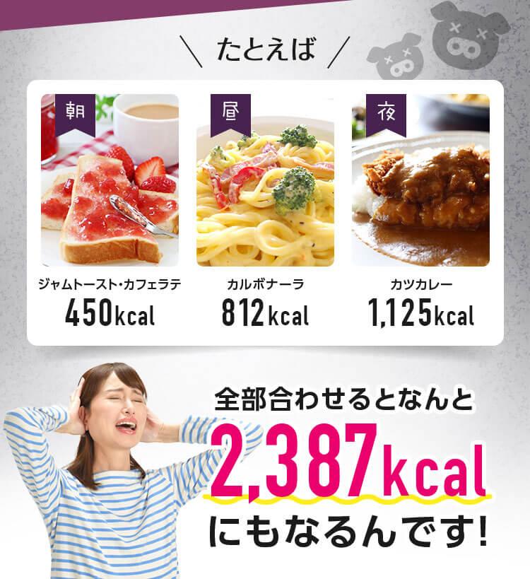 普段の食事の合計は2387kcalにもなるんです