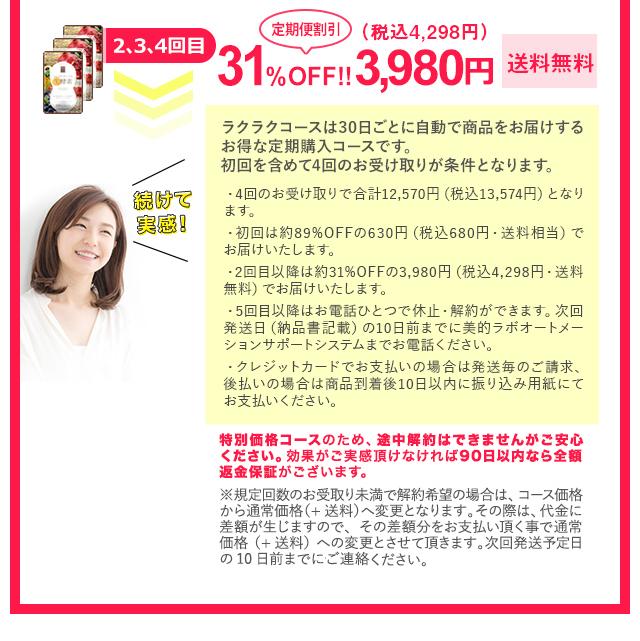 2.3.4回目31%定期割引OFF!3,980円