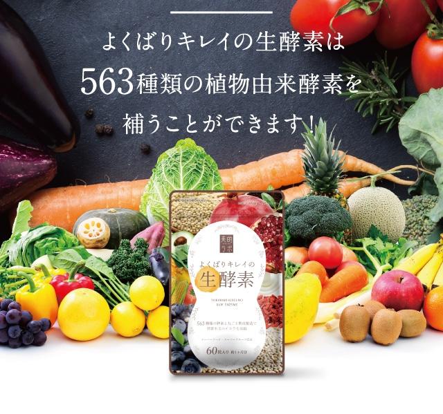 よくばりキレイな生酵素は563種類の植物由来酵素を補うことができます!
