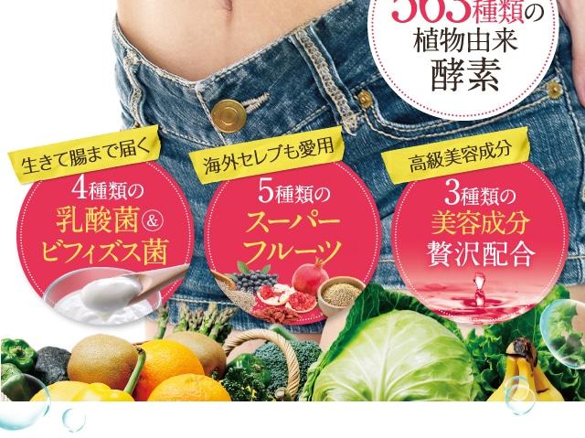 4種類の乳酸菌ビフィズス菌 5種類のスーパーフルーツ 3種類の美容成分贅沢配合