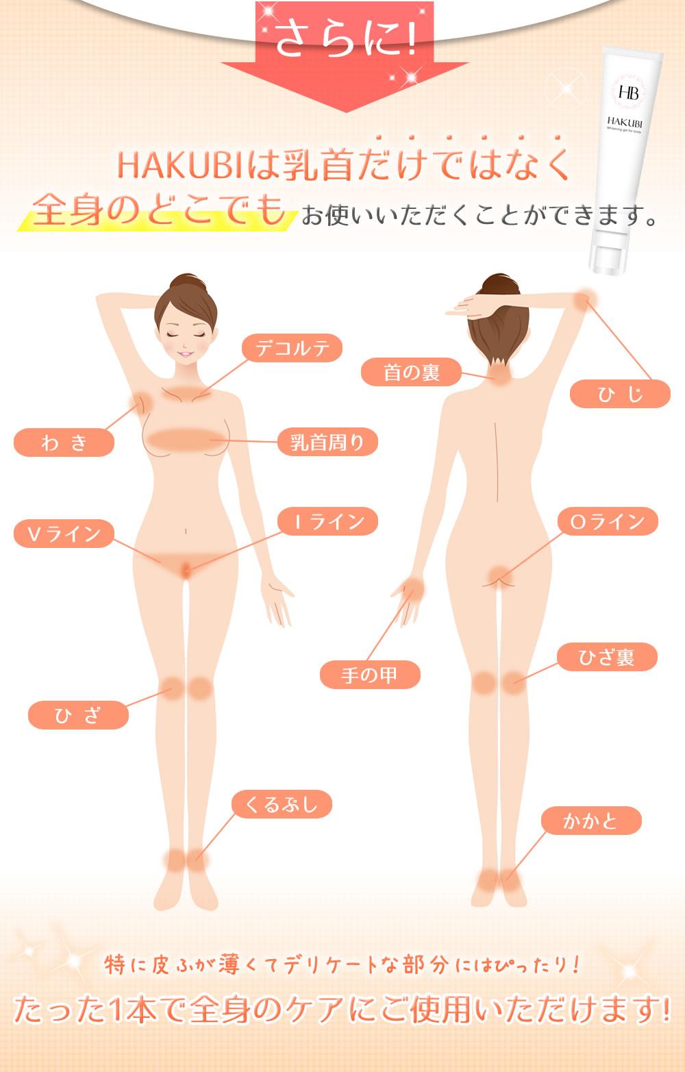 さらに!HAKUBIは乳首だけではなく全身のどこでもお使いいただくことができます。 たった1本で全身のケアにご使用いただけます!