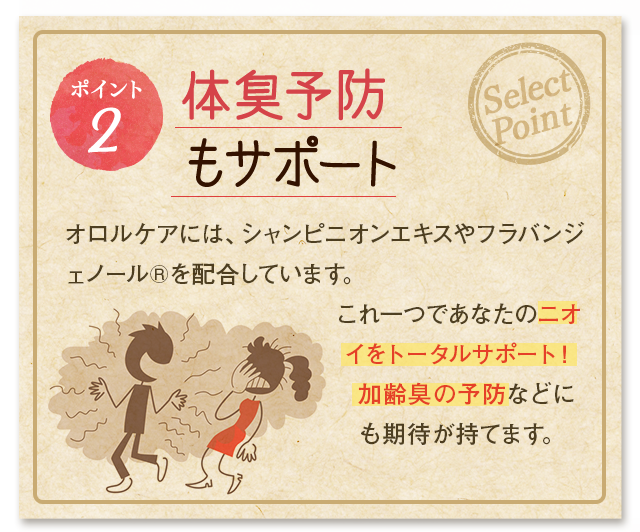 [ポイント2] 体臭予防もサポート