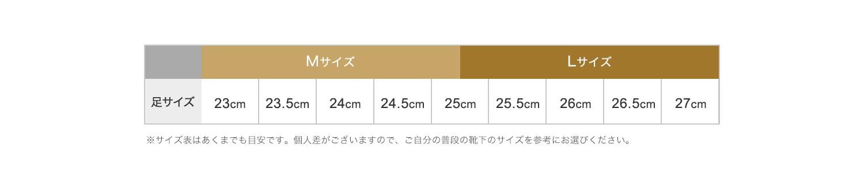 足のサイズが23〜25cmの方はMサイズを、25cm〜27cmの方にはLサイズをおすすめしてます。(※サイズ表はあくまでも目安です。個人差がございますので、ご自分の普段の靴下のサイズを参考にお選びください。)