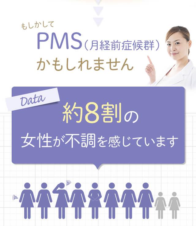 もしかしてPMS(月経前症候群)かもしれません。約8割の女性が不調を感じています。