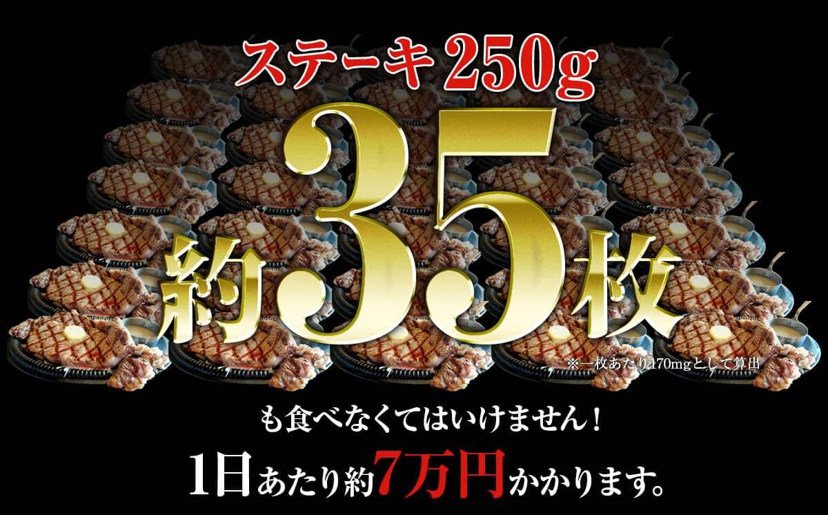 ステーキ250g 約35枚1日あたり約7万円