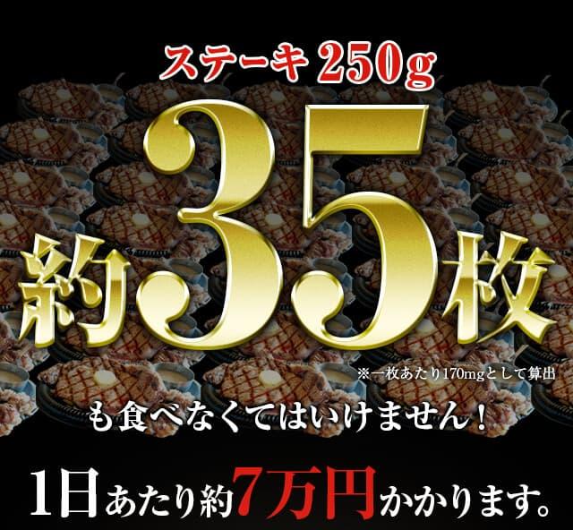 ステーキ250g 約35枚1日あたり約7万円かかります。
