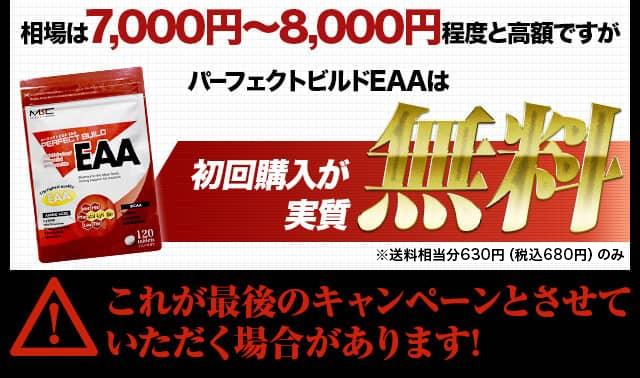 相場は7000円~8000円程度と高額ですがパーフェクトビルドEAAは初回購入が実質無料