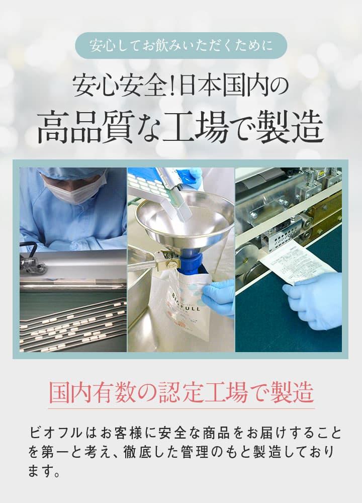 ビオフル 日本国内の高品質な工場で製造