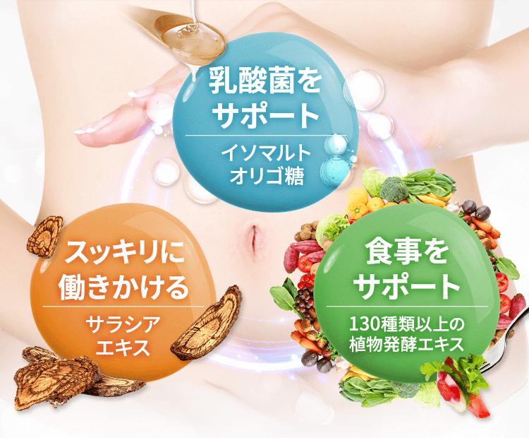 乳酸菌をサポート,スッキリに働きかける,食事をサポート
