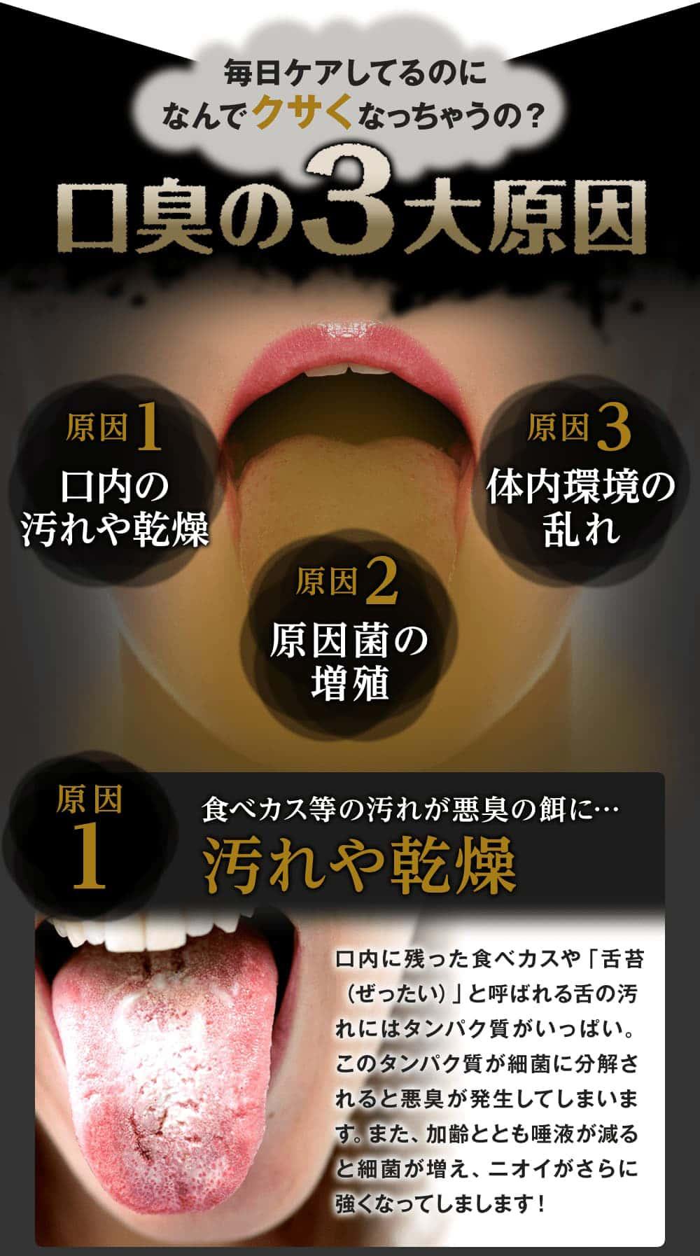 口臭の最大原因は「口内の汚れや乾燥」「原因菌の増殖」「体内環境の乱れ」にあります。食べカスが汚れが舌苔に溜まって細菌に分解されると悪臭が発生するのです!
