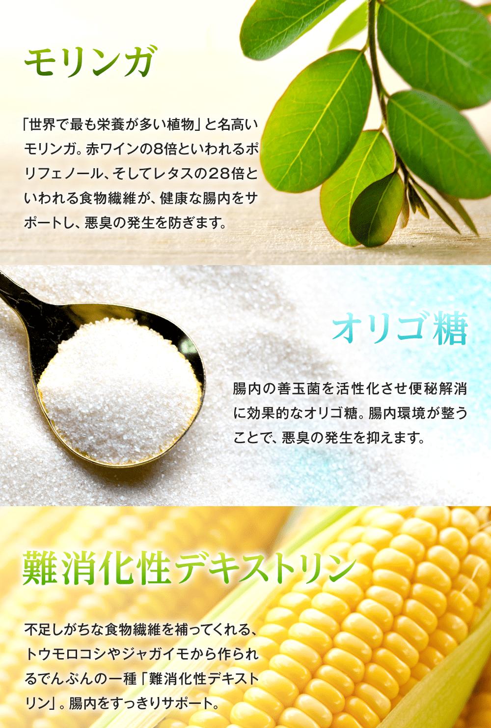 レタスの28倍も食物繊維が含まれるモリンガで健康な腸内をサポート。オリゴ糖で腸内の善玉菌を活性化させて便秘を解消。難消化性デキストリンで不足しがちな食物繊維を補い、腸内をすっきりサポートします!