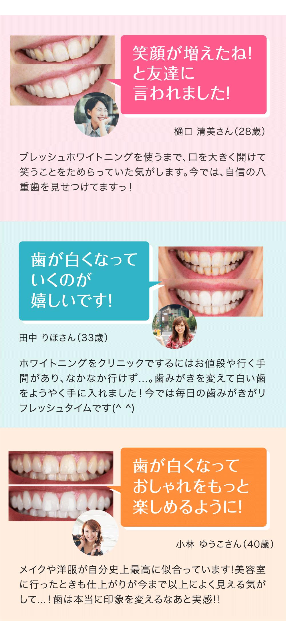 笑顔が増えたね!と友達に言われました!歯が白くなっていくのが嬉しいです!歯が白くなっておしゃれをもっと楽しめるように!