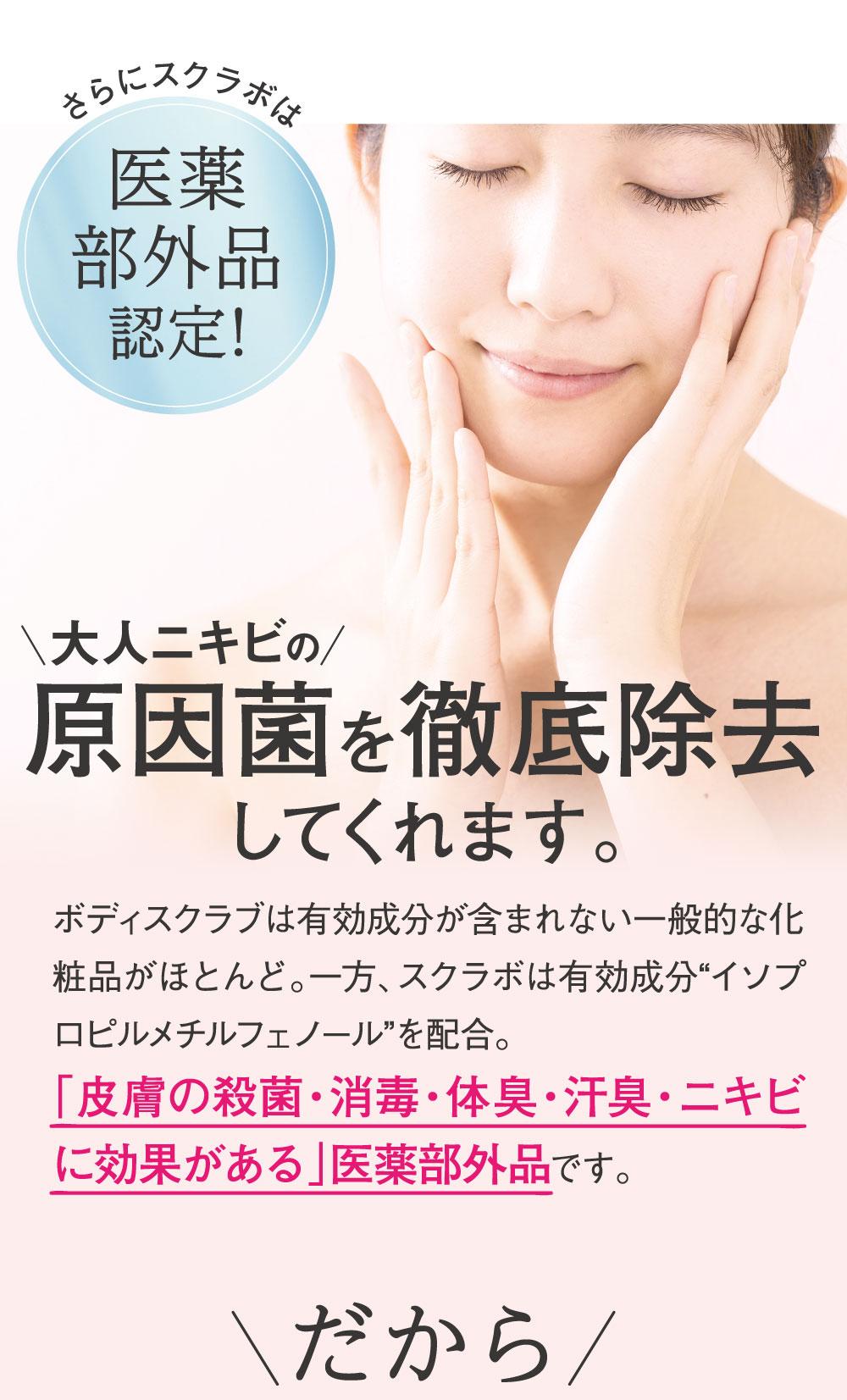 角質除去によりターンオーバーを促進!毛穴に詰まった古い角質や汚れをオフ。