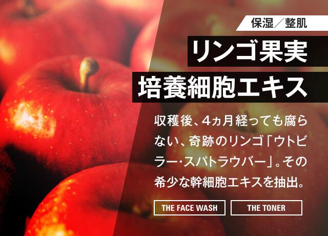 【保湿・整肌】リンゴ果実 培養細胞エキス 収穫後、4ヵ月経っても腐らない、奇跡のリンゴ「ウトビラー・スパトラウバー」。その希少な幹細胞エキスを抽出。[THE FACE WASH] [THE TONER]