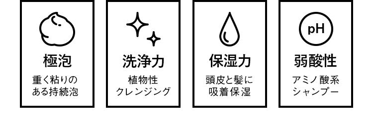 THE SHAMPOO(シャンプー)の4つの特徴。一つ目は重く粘りのある持続泡の極泡。二つ目は植物性クレンジングの洗浄力。三つ目は保湿力。頭皮と髪に吸着保湿。四つ目は弱酸性のアミノ酸系シャンプー。