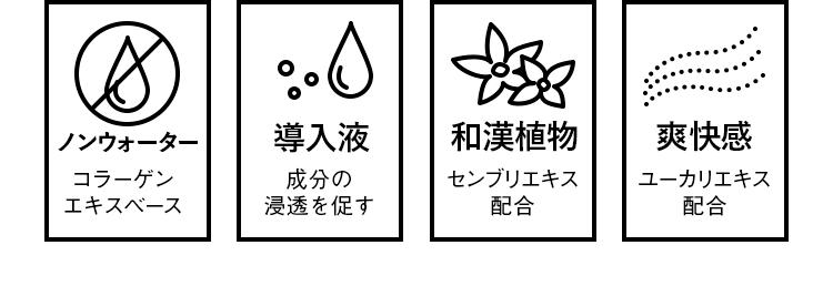 THE SCALP SERUM(頭皮用美容液)の4つの特徴。一つ目はコラーゲンエキスベースのノンウォーター処方。二つ目は成分の浸透を促す導入液。三つ目は和漢植物センブリエキス配合。四つ目はユーカリエキス配合の爽快感。