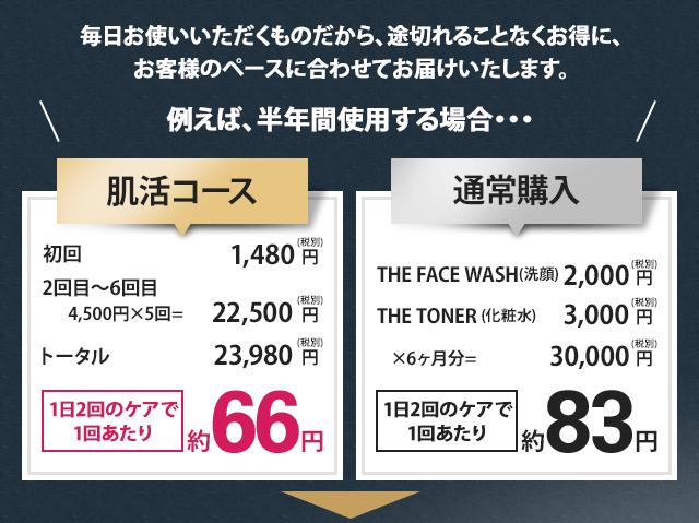 毎日お使いいただくものだから、途切れることなくお得に、 お客様のペースに合わせてお届けいたします。例えば、半年間使用する場合・・・肌活コース初回1,480円(税別)2回目〜6回目4,500円×5回=22,500円(税別)トータル23,980円(税別)1日2回のケアで1回あたり約66円通常購入THEFACEWASH(洗顔)2,000円(税別)THETONER(化粧水)3,000円(税別)×6ヶ月分=30,000円(税別)1日2回のケアで1回あたり約83円