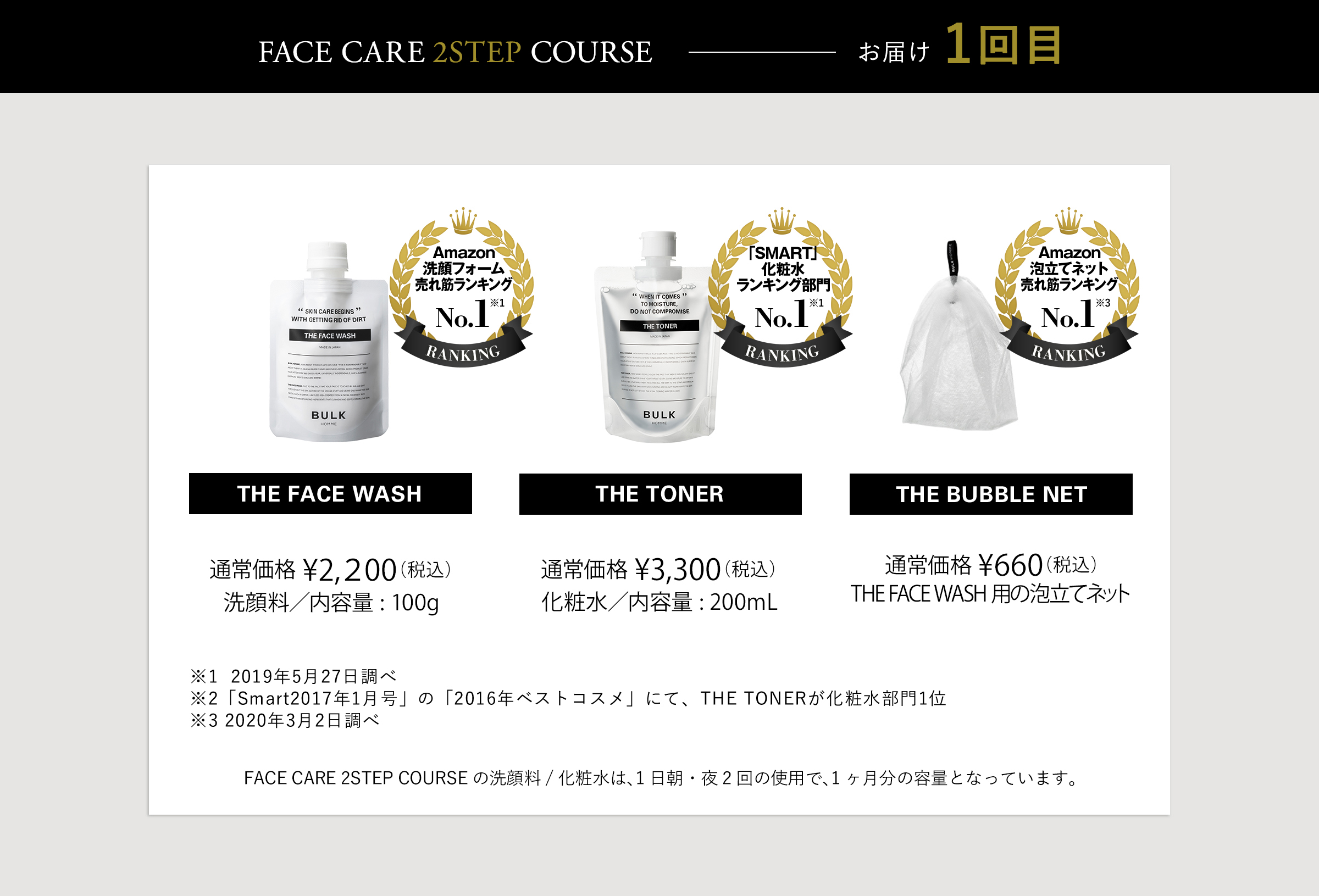FACE CARE 2STEP ROUTINE COURSE お届け 1回目