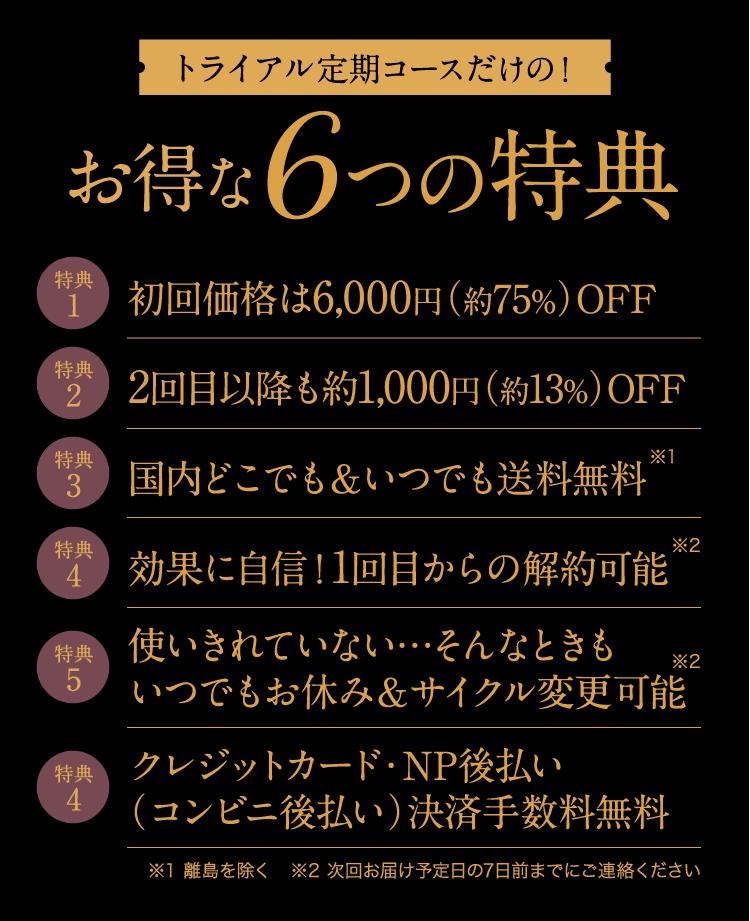 お得な6つの特典
