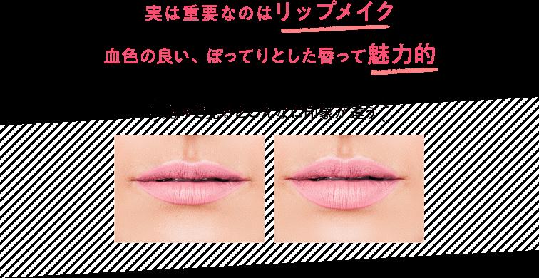 実は重要なのはリップメイク 血色の良い、ぽってりとした唇って魅力的 比べて見るとこんなに印象が違う