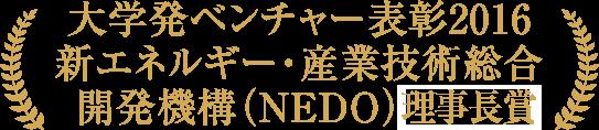 大学発ベンチャー表彰2016 新エネルギー・産業技術総合開発機構(NEDO)館長賞