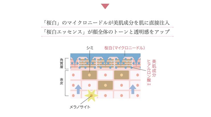 「桜白」のマイクロニードルが美肌成分を肌に直接注入、「桜白エッセンス」が顔全体のトーンと透明感をアップ