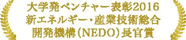 大学発ベンチャー表彰2016新エネルギー・産業技術総合開発機構(NEDO)長官賞