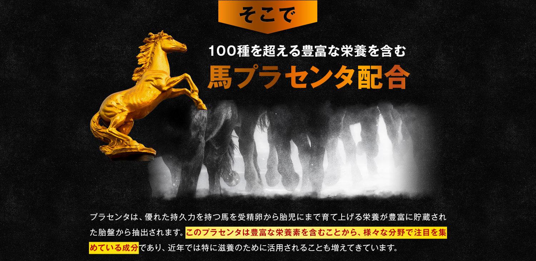 100種を超える豊富な栄養を含む馬プラセンタ配合
