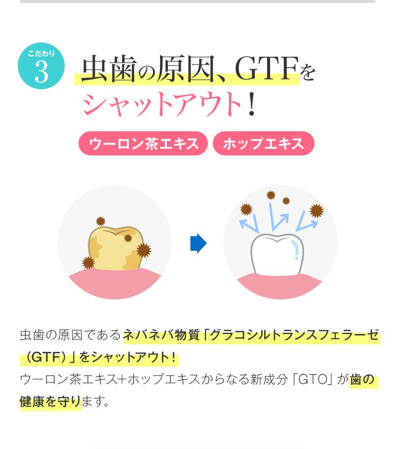 こだわり3 虫歯の原因、GTFをシャットアウト!