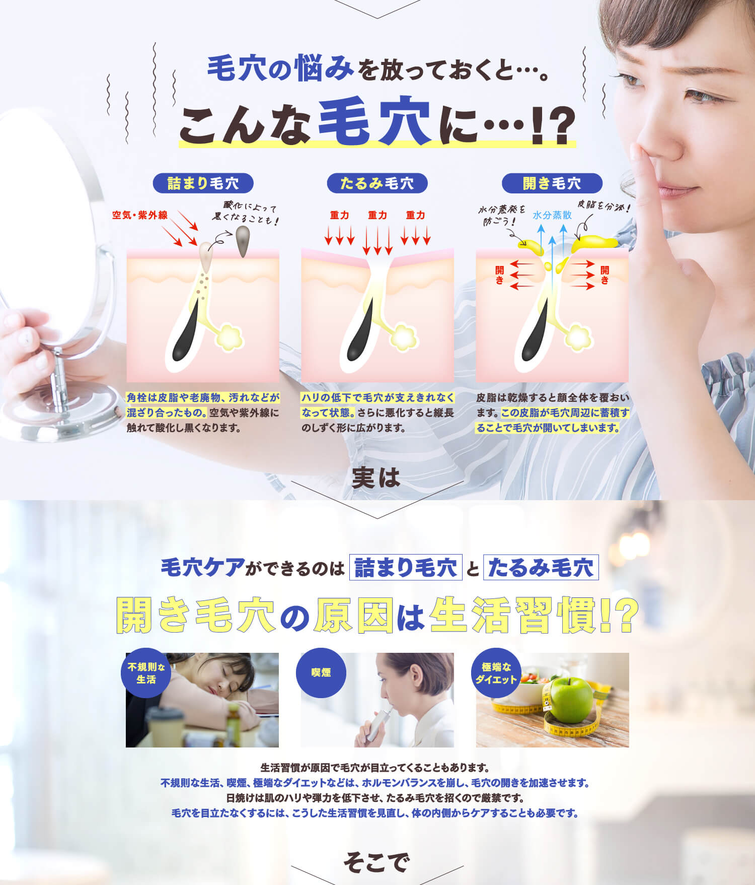 CRYSTUAL CLEAR SOAP・CRYSTUAL SUPPLEMENT 毛穴の悩みを放っておくと…。こんな毛穴に…!?