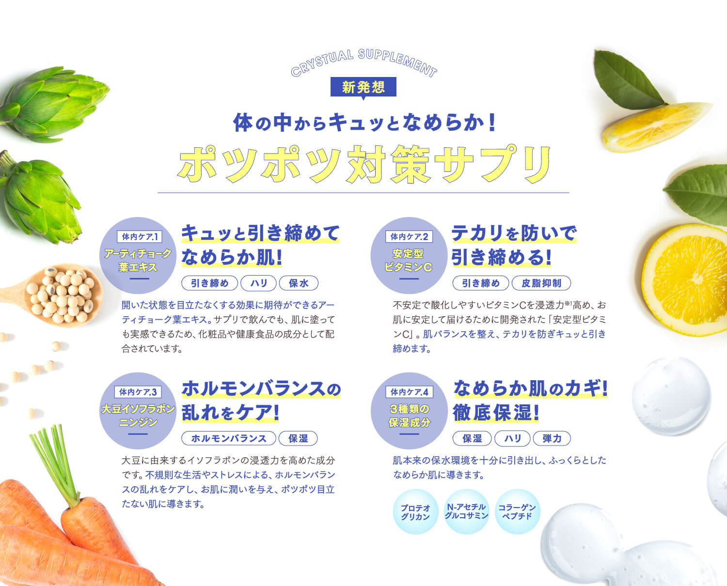 CRYSTUAL CLEAR SOAP・CRYSTUAL SUPPLEMENT 新発想 体の中からキュッとなめらか!ポツポツ対策サプリ
