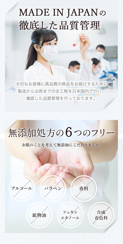MADE IN JAPANの徹底した品質管理 大切なお客様に高品質の商品をお届けするために製造から出荷までの全工程を日本国内で行い、徹底した品質管理を行っております。 無添加処方の6つのフリー お肌のことを考えて無添加にこだわりました。 アルコール パラベン 香料 鉱物油 フェキシエタノール 合成着色料