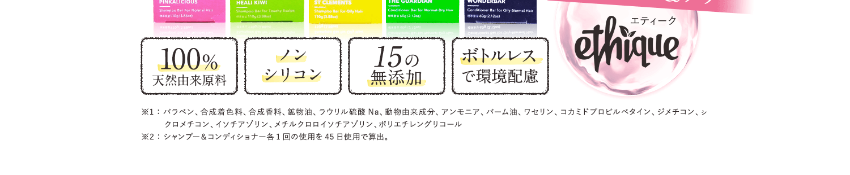 シャンプー&コンディショナー各1回の使用を45日使用で算出。