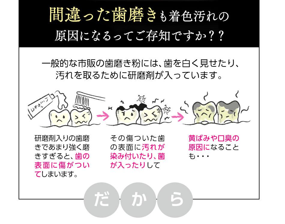 間違った歯磨きも着色汚れの原因になるってご存知ですか??一般的な市販の歯磨きに粉には、歯を白く見せたり、汚れを取るために研磨剤が入っています。