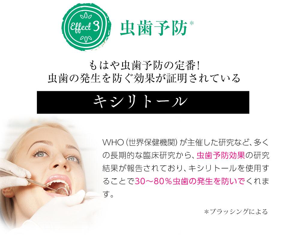 ③虫歯予防、虫歯予防の定番!虫歯の発生を防ぐ効果が証明されている